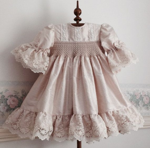 Silk and Lace Hand smocked Couture Dress for little girls, Birthday, Dusty Pink Silk and Ivory Laces, Custom Order Only, sizes 1, 2, 3 and 4