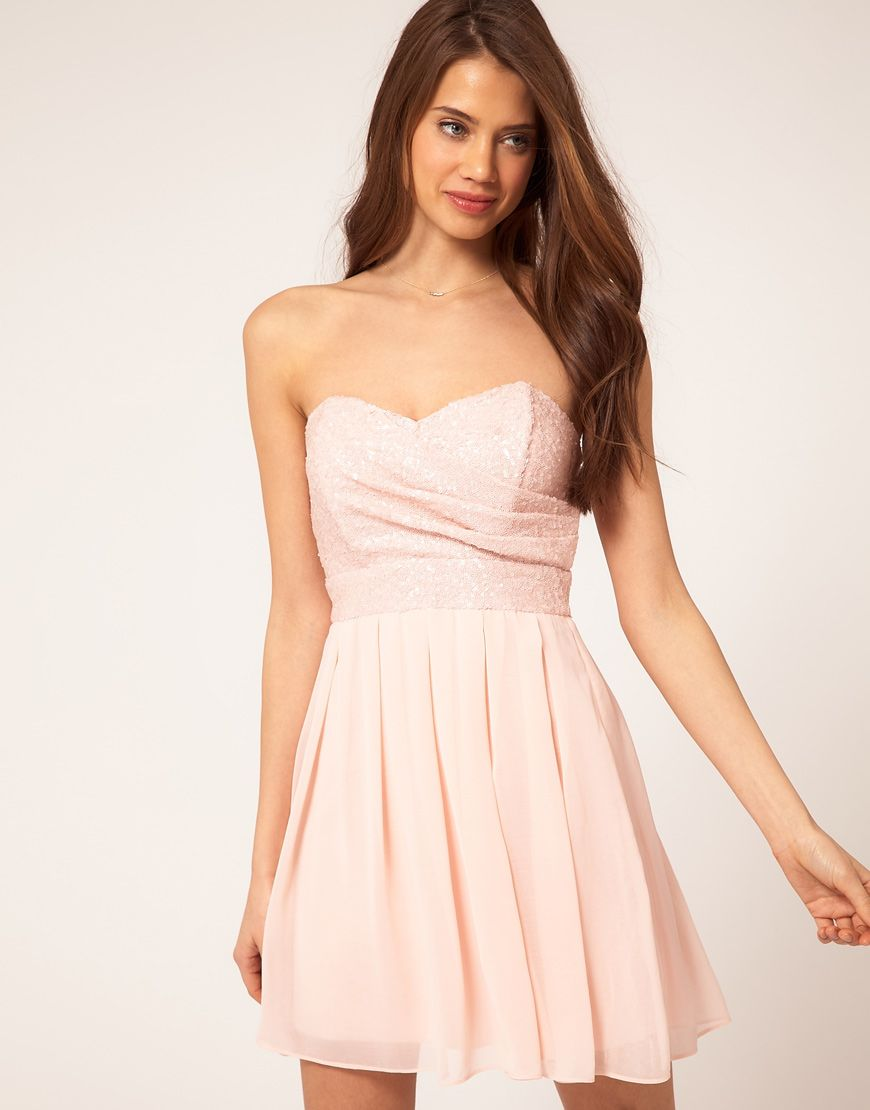 TFNC Dress with Sequin Bandeau & Chiffon Skirt (ASOS) in Nude | My ...