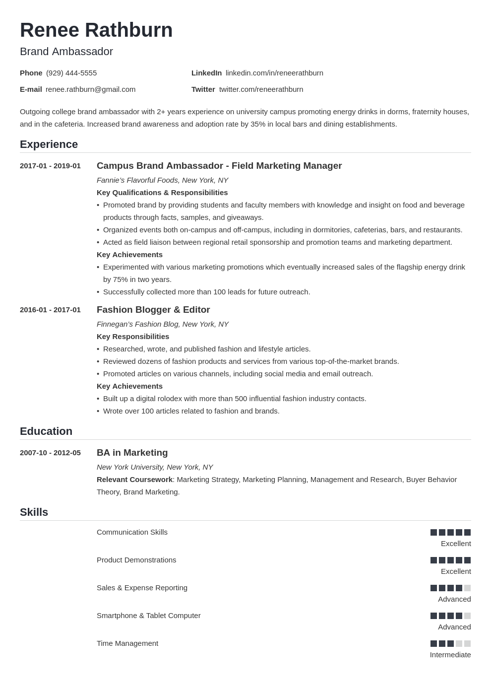Brand Ambassador Resume [+Examples With Skills and Duties