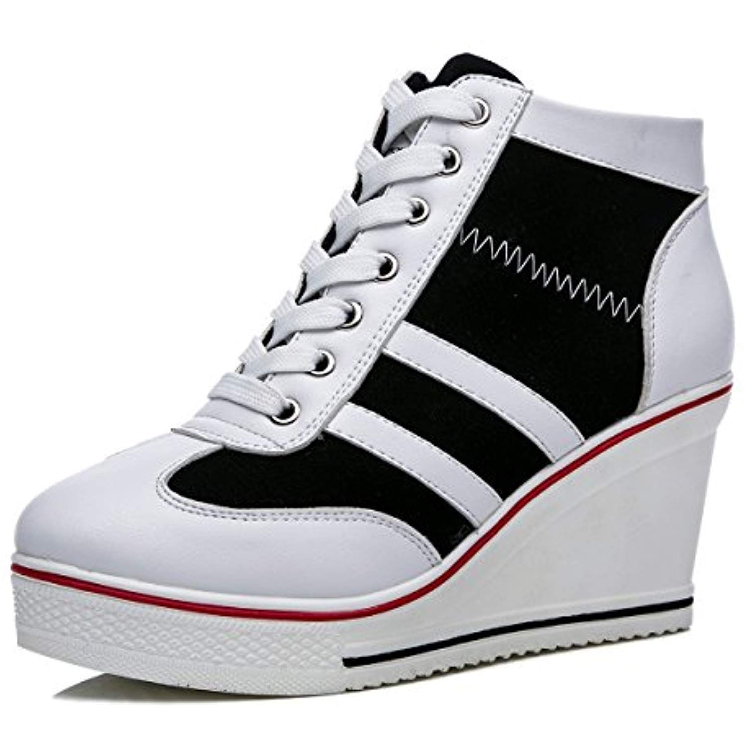 e9e28979e41bf Womens Casual Platform Plus Size High Top Wedge Heel Zipper Canvas ...