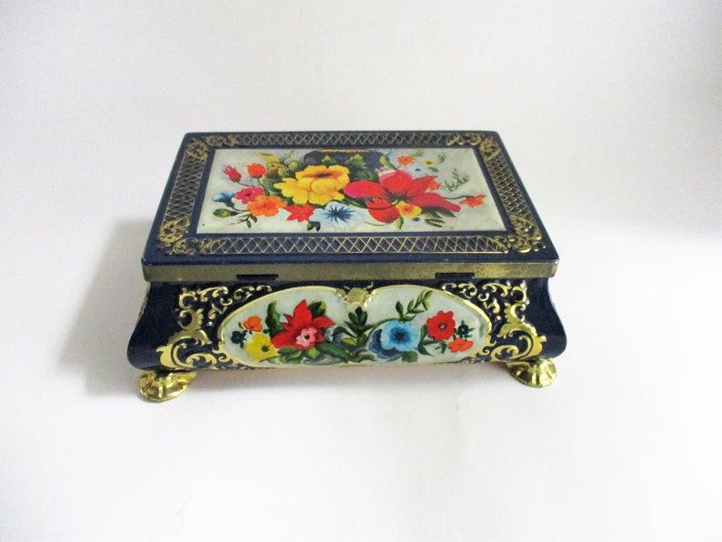 Jewelry Box Trinket Box Vintage Box Flower Box Jewellery Box Keepsake Box Floral Box Plastic Box Wildflower Box Ceramic Trinket Box