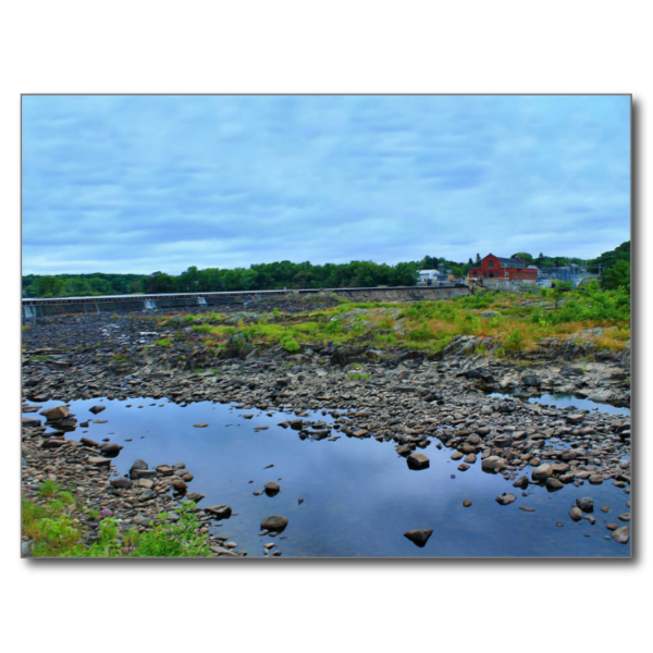 Low Waters Postcard (Pkg of 8) by KJacksonPhotography --  Taken 08.31.2014 The low waters of the Penobscot River at the Milford Dam between Old Town and Milford, Maine. The overcast, gray day seem to highlight the rocks and vegetation of the riverbed.PC:184.221 #nature #photography #lowwaters #landscape #naturephotography #postcard #postcards