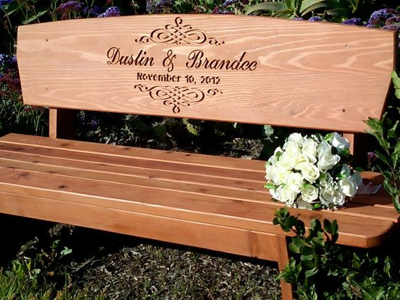 Wedding Bench Custom Engraved Redwood By Boutiquebenches
