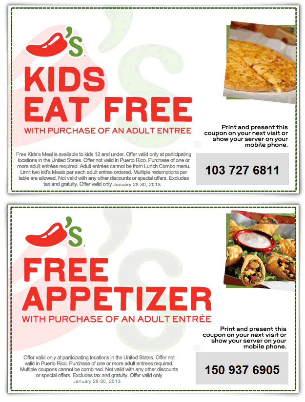 image about Chilis Printable Coupon titled Free of charge+children+dinner+with+yours+and+excess+at+Chilis+coupon+by way of+The+