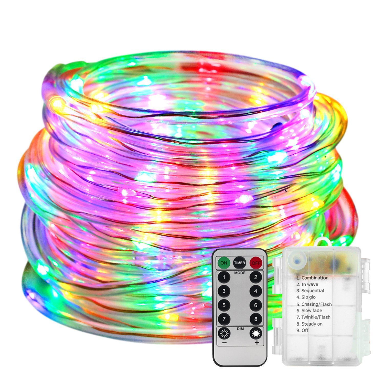Led Rope Lights Battery Operated With Remote Timer 8 Mode Le Multi Color