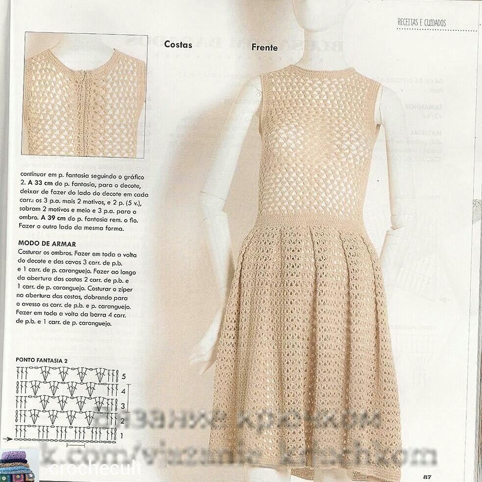 crochelinhasagulhas: Vestido evasê em crochê | 3 Крючком | Pinterest ...