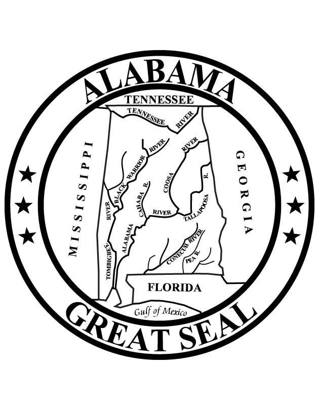 Alabama State Seal Veterans Day Coloring Page Alabama State