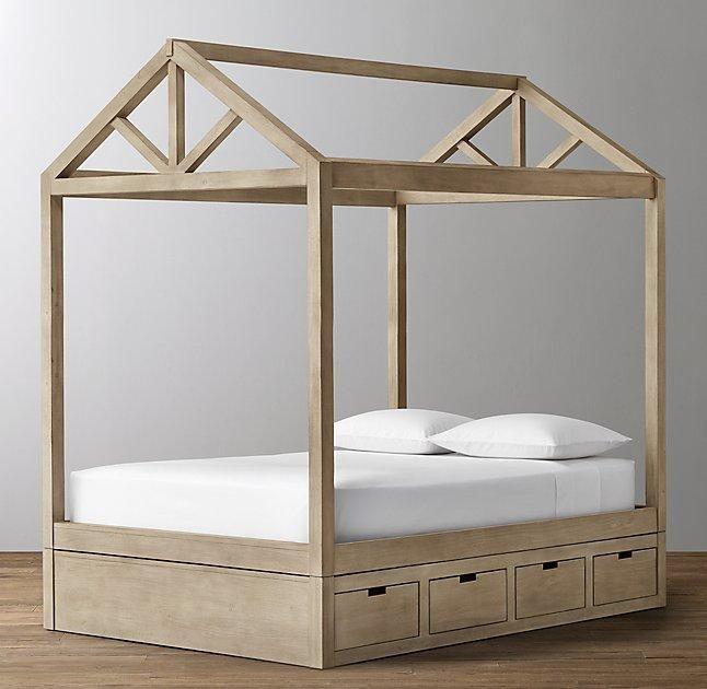 Brown Framed House Storage Base Bed Platform Canopy Bed Canopy Bed Headboards For Beds