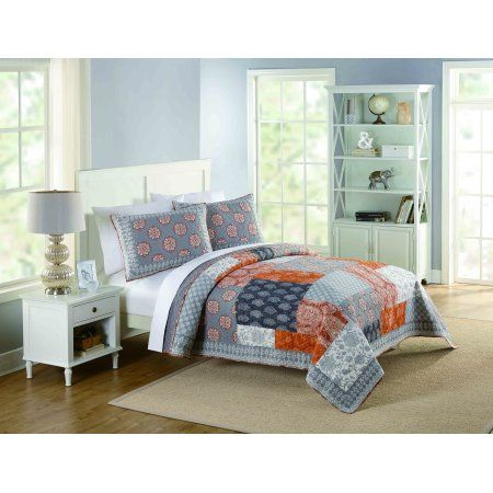 Better Homes Gardens Americana Patchwork Quilt Full Queen Orange Home Better Homes Better Homes And Gardens