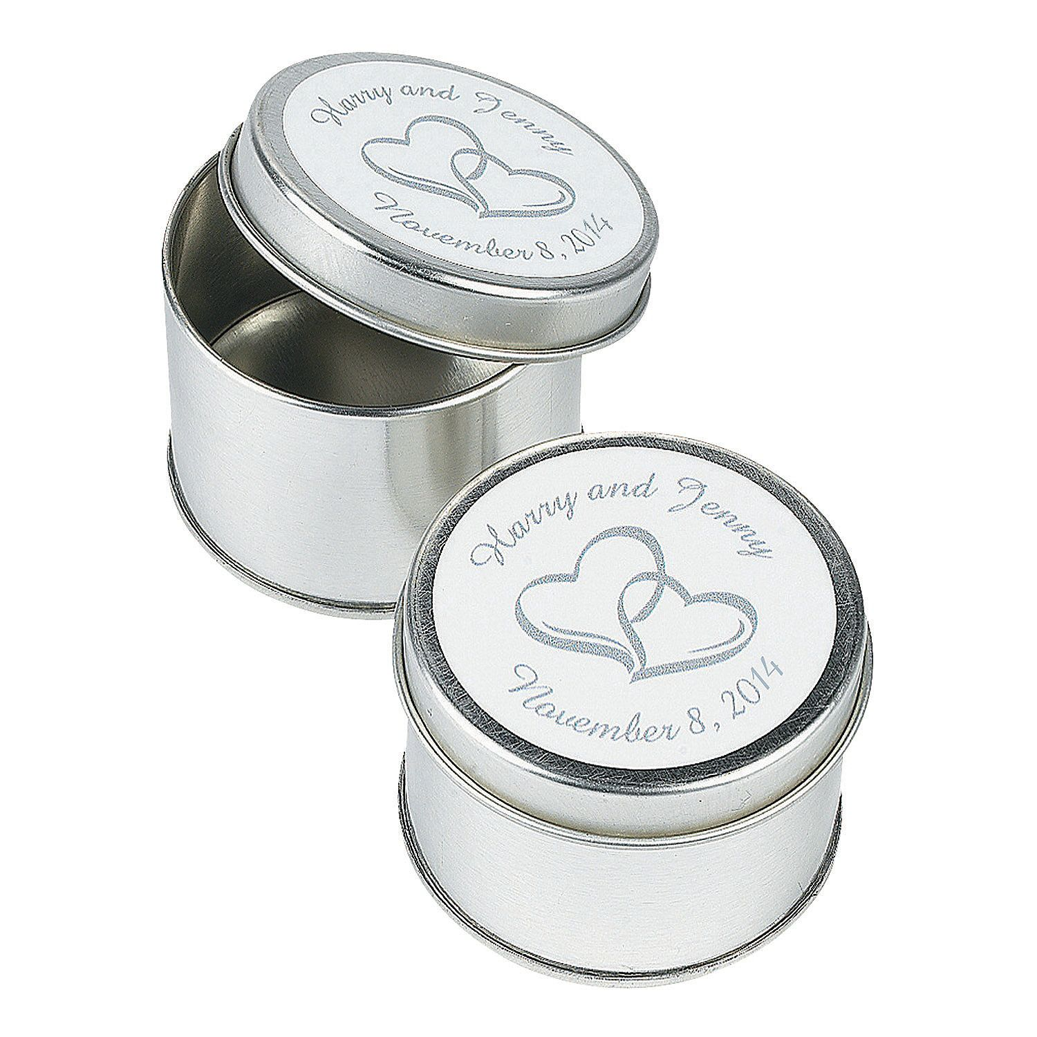 Personalized Two Hearts Silvertone Tins - OrientalTrading.com ...