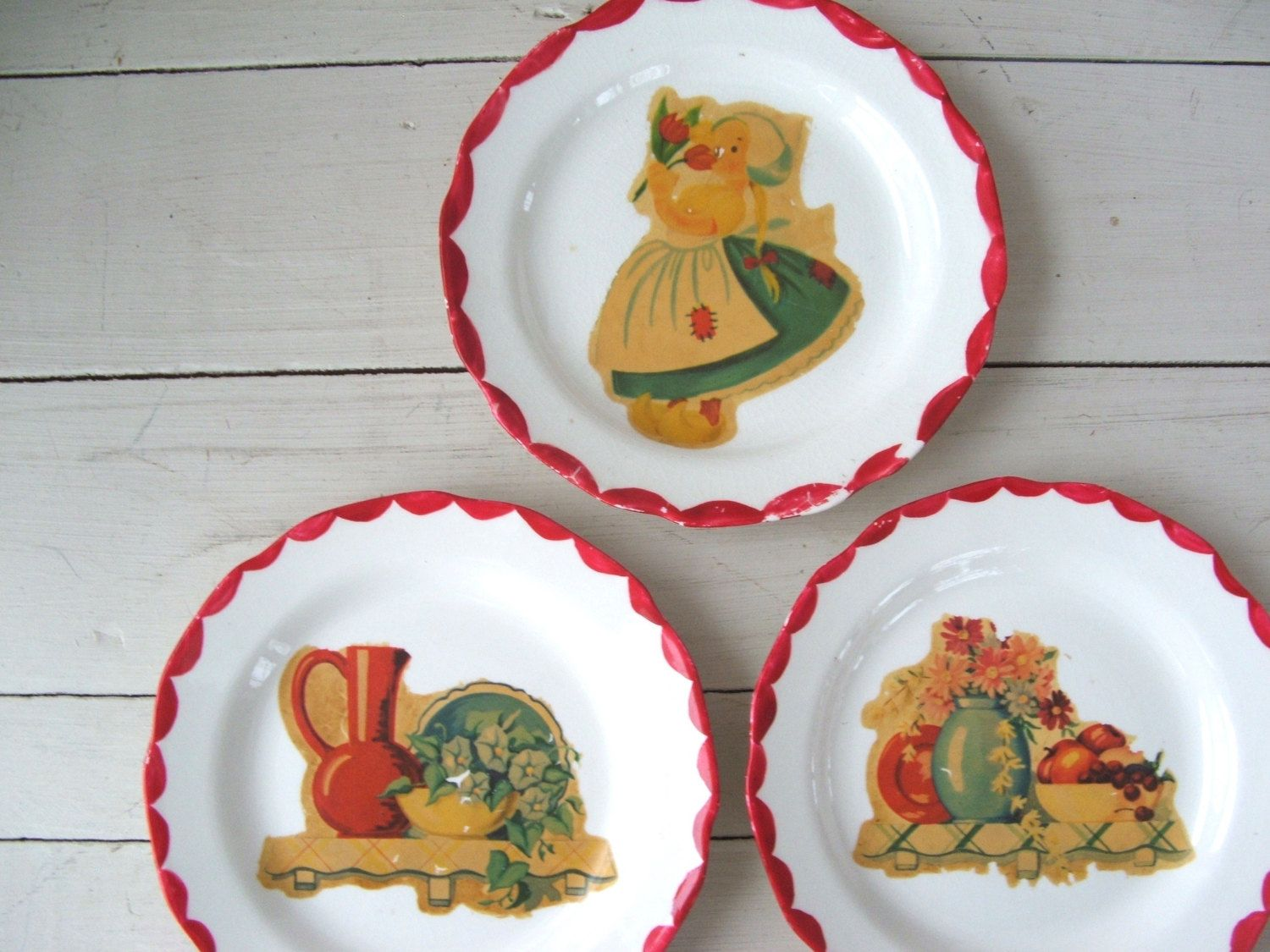 3 shabby small saucer plates handpainted vintage kitchen decals dutch girl flowers by lookonmytreasures on Etsy