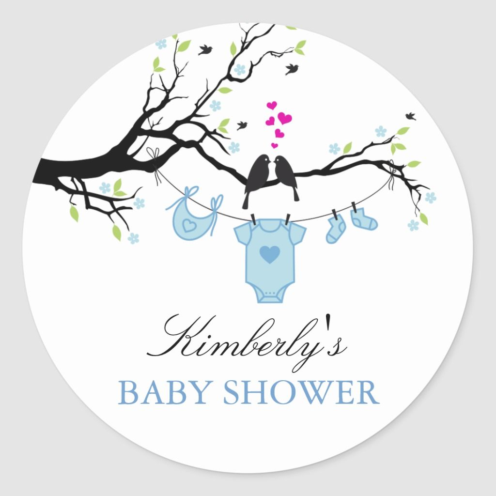 Love Birds Boy Baby Shower Sticker Zazzle Com In 2021 Baby Shower Stickers Baby Boy Shower Baby Shower