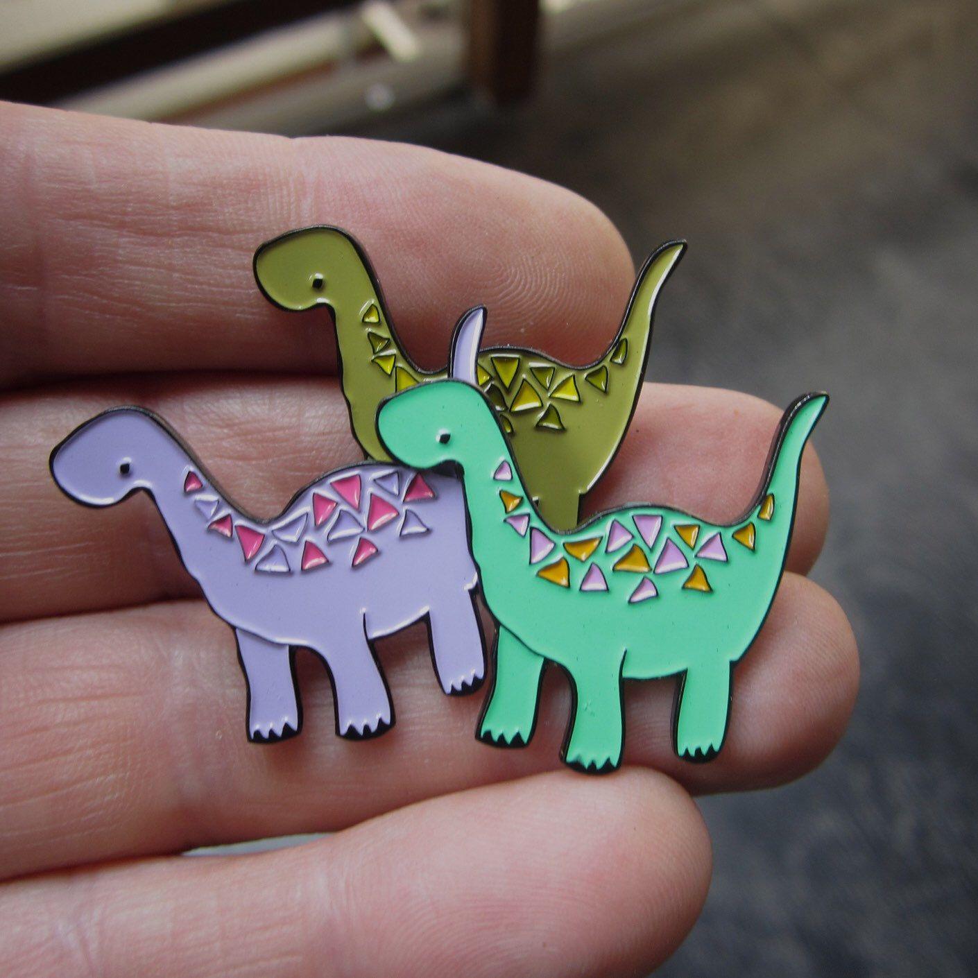 e4b3bf264c8 Dinosaur Pin - Enamel Geometric Dinosaur Pin - Young Brontosaurus ...