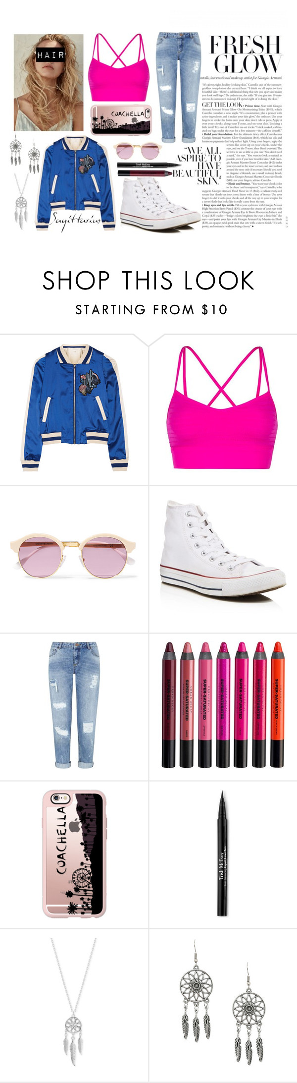 """""""#8"""" by mariposa68 ❤ liked on Polyvore featuring Maje, Lorna Jane, Sheriff&Cherry, Converse, Miss Selfridge, Urban Decay, Casetify, Trish McEvoy and Lucky Brand"""