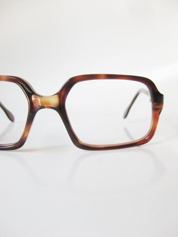 f613d6c0ef1862 Vintage 1960s Mens Glasses Boxy Tortoiseshell 60s Light Chocolate Brown  Oversized Mens Glasses 60s M