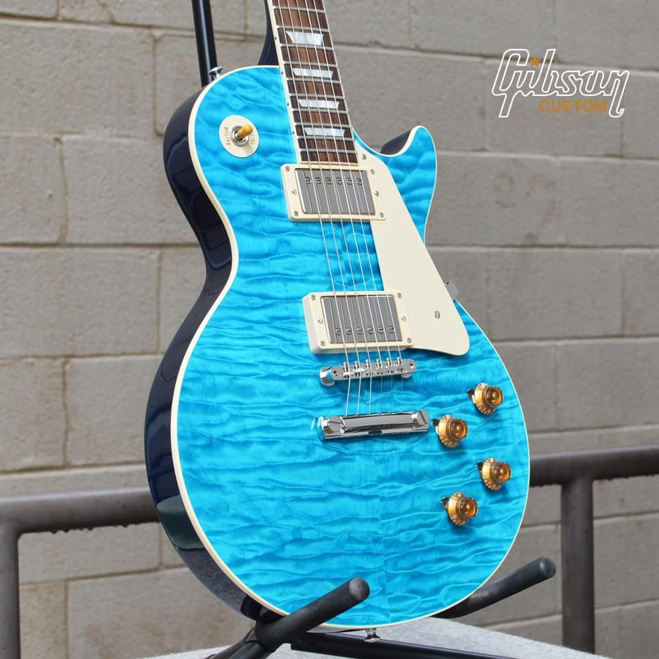 Gibson Les Paul Custom - quilted maple sky blue top | Guitars ...