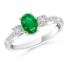 Angara Diamond and Emerald Three Stone Ring in Yellow Gold