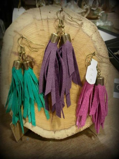 Gift idea - gorgeous leather tassel earrings from Shadow Crafts. Handmade in Sheffield <3 £8