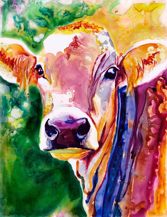 Cow Watercolor Fine Art Print On Paper Metal Or Bamboo Cow Painting Etsy Art Prints Cow Art