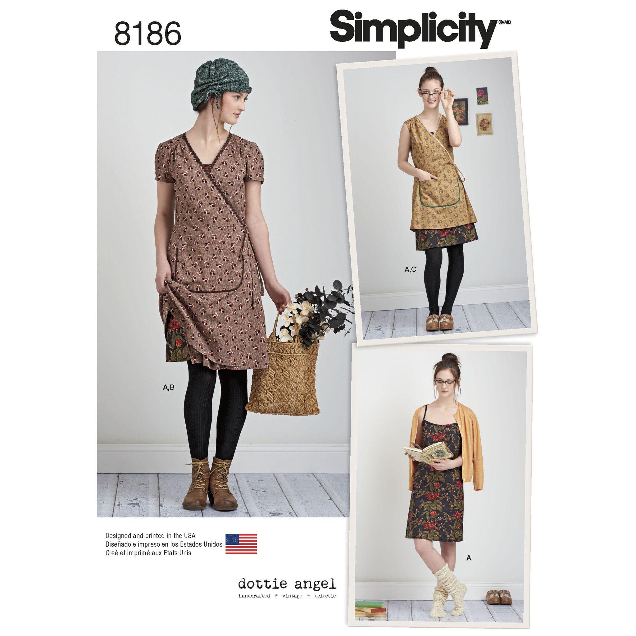 S8186 Misses\' Dottie Angel Frock: Wrap & Slip Dress | Sewing ...