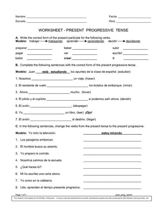 Spanish Worksheets Printables | Present Progressive Worksheet: | 7th ...