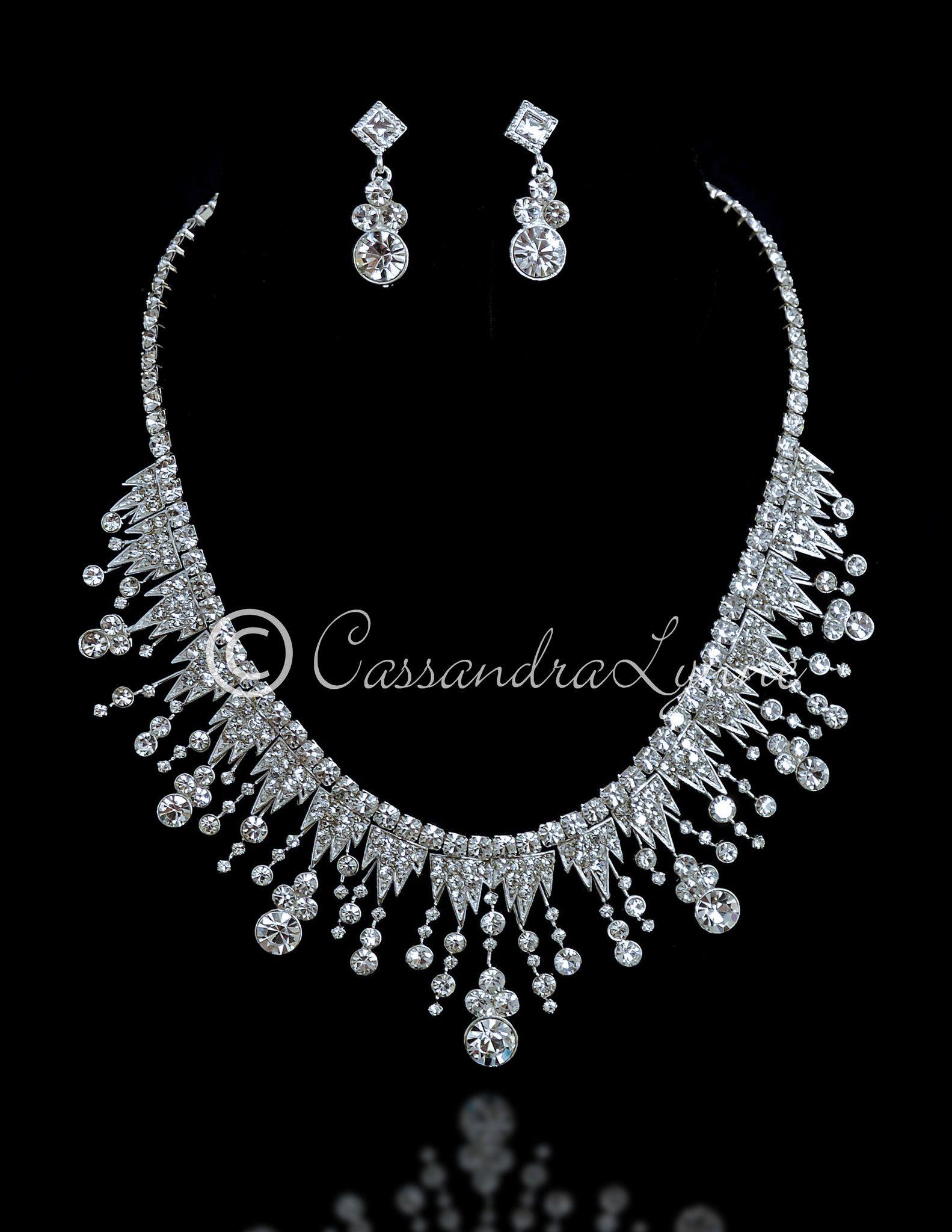 Modern Wedding Necklace Set of a Sunburst of Rhinestones from