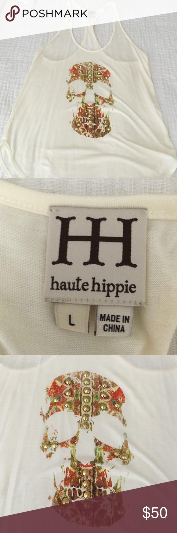 Haute Hippie studded skull racer back Cream racer back tank with gold studded skull Haute Hippie Tops Tank Tops