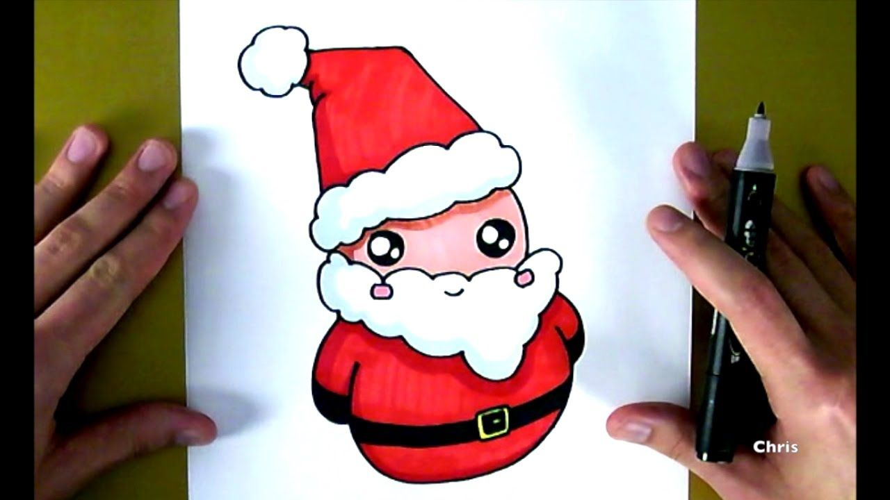 Dessin Kawaii Apprends Comment Dessiner Le Pere Noel