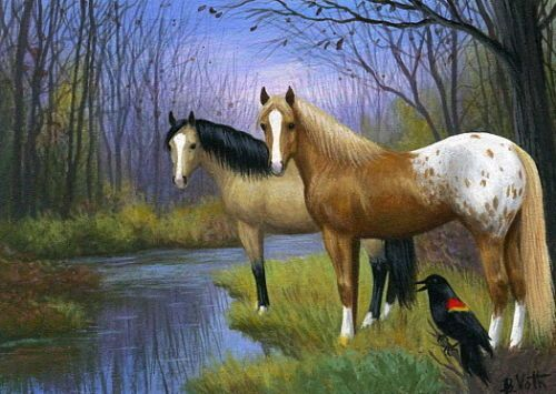 Appaloosa-buckskin-horses-blackbird-winter-pond-limited-edition-aceo-print-art