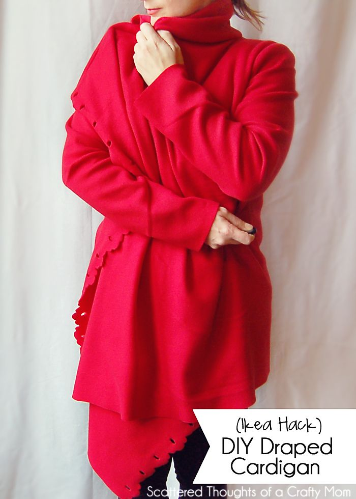 DIY Draped Cardigan Tutorial (Made with a $2.99 Ikea Fleece Blanket ...