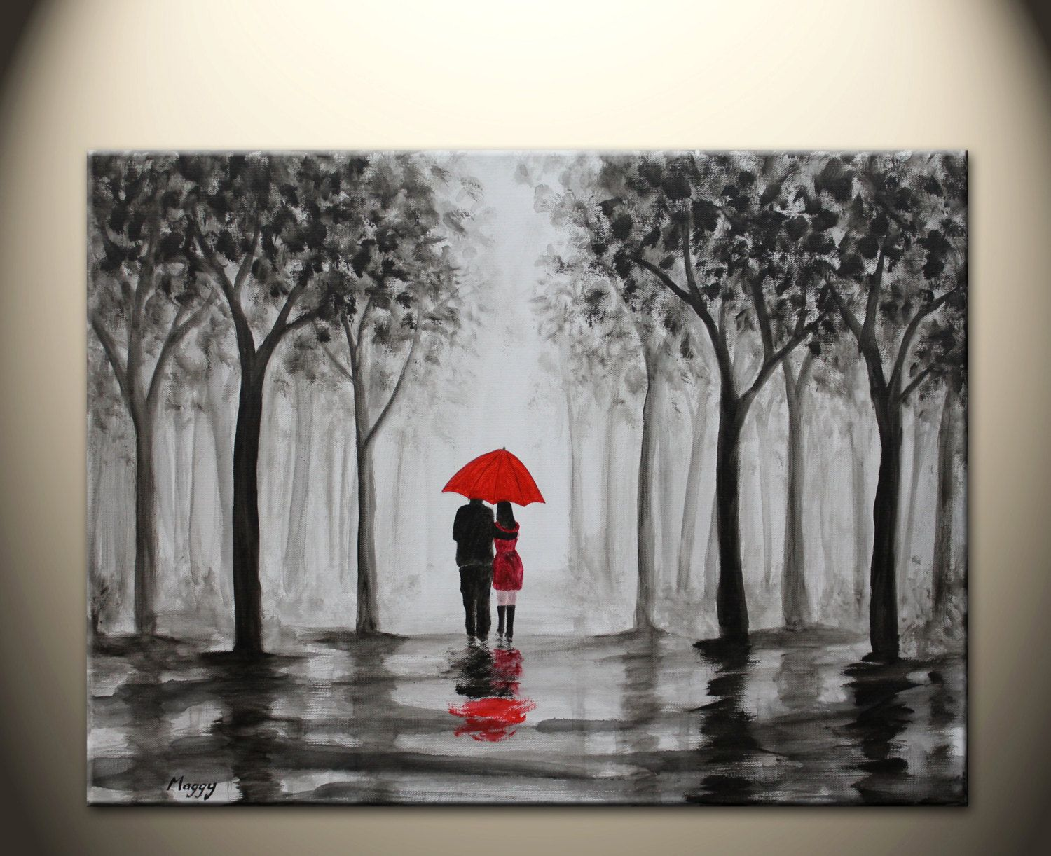 Posters & Prints Couple Rain Walk Lovers Vintage Oil Painting Abstract Canvas