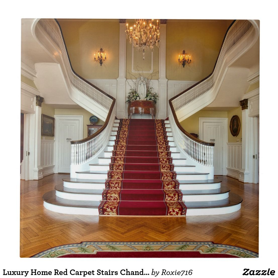 Luxury Home Red Carpet Stairs Chandelier Tile Zazzle Com | Stairs With Red Carpet | Event | Gold | Spiral Staircase | Traditional | White