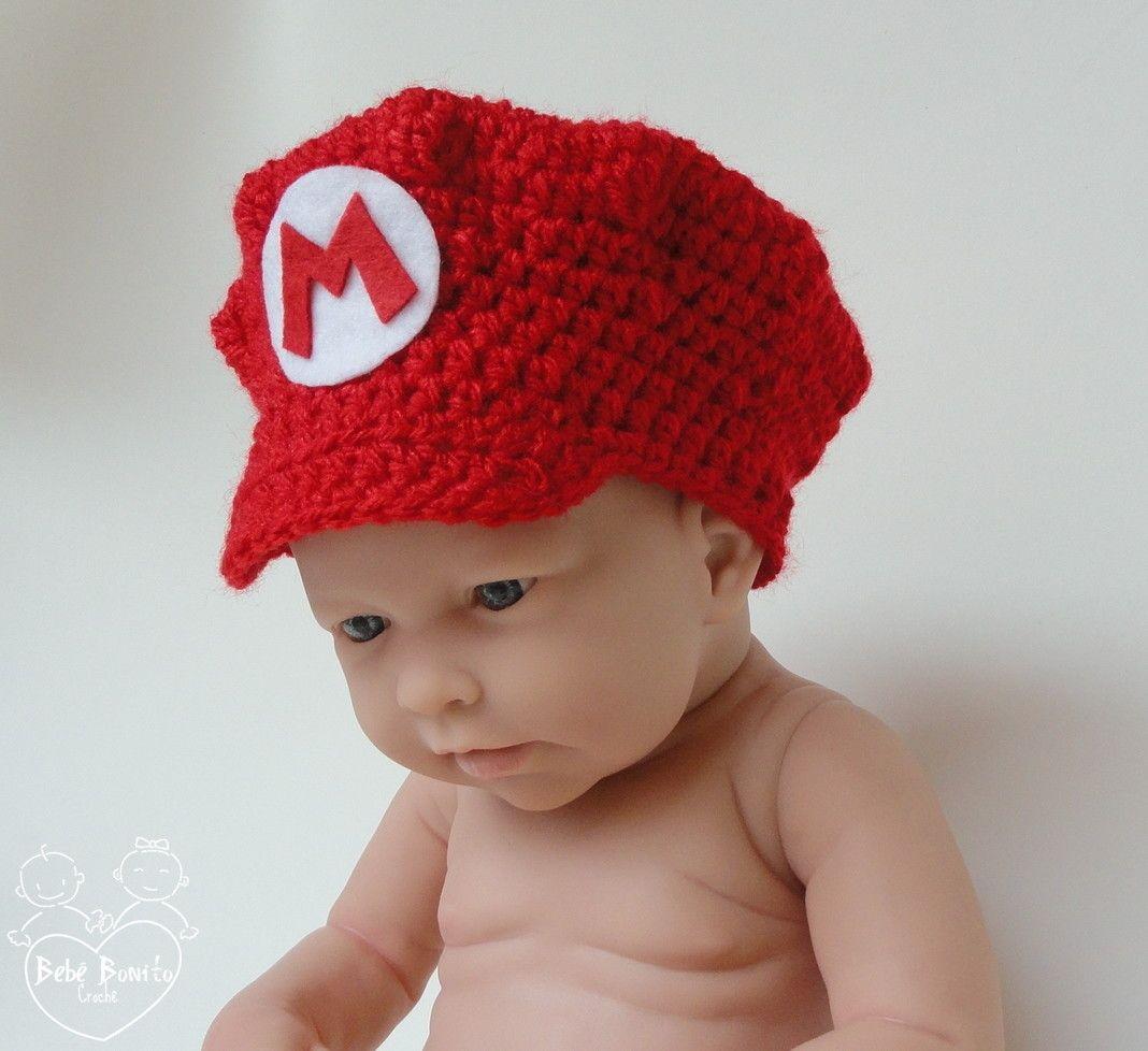 ad7ec00bc70b Boina em crochê Super Mario Bros. | Bebê Bonito | Elo7 | Newborn ...