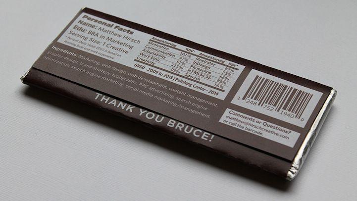 Creative Designer Crafts Resume On A Chocolate Bar Wrapper Unique Resume Resume Design Creative Cv Design Creative