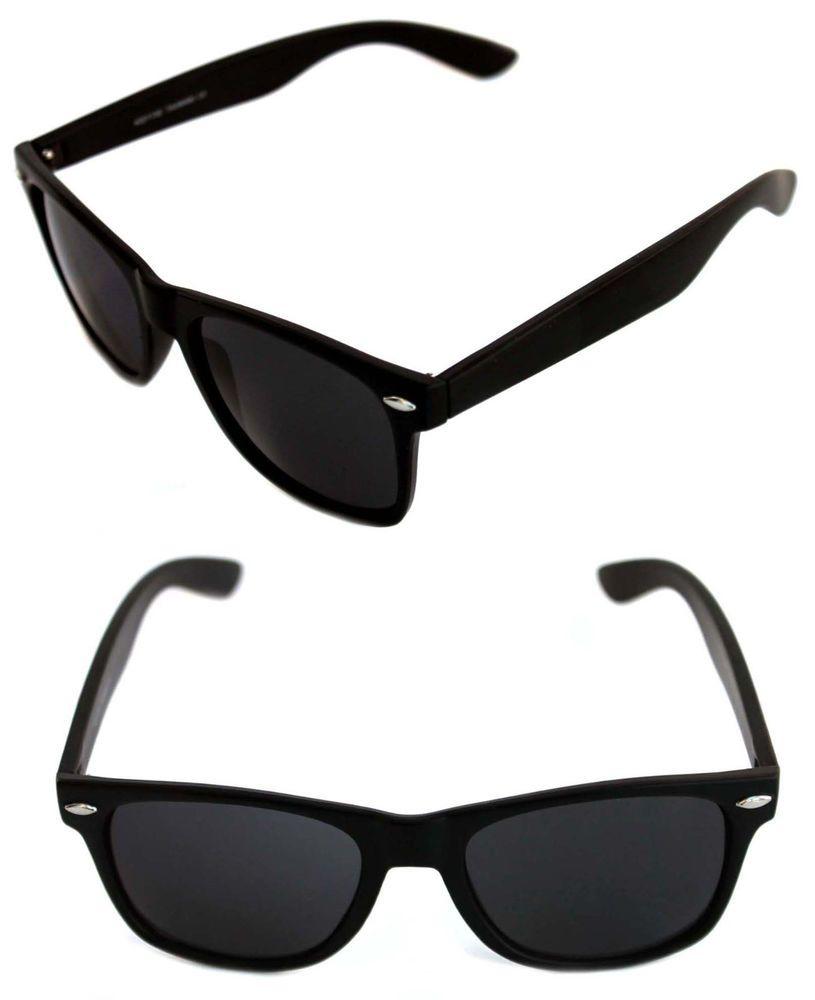 b97445c9b90f Men s Women s Matte Black Frame Sunglasses Horn Rimmed Retro Vintage Black  Lens  Unbranded  Wayfarer