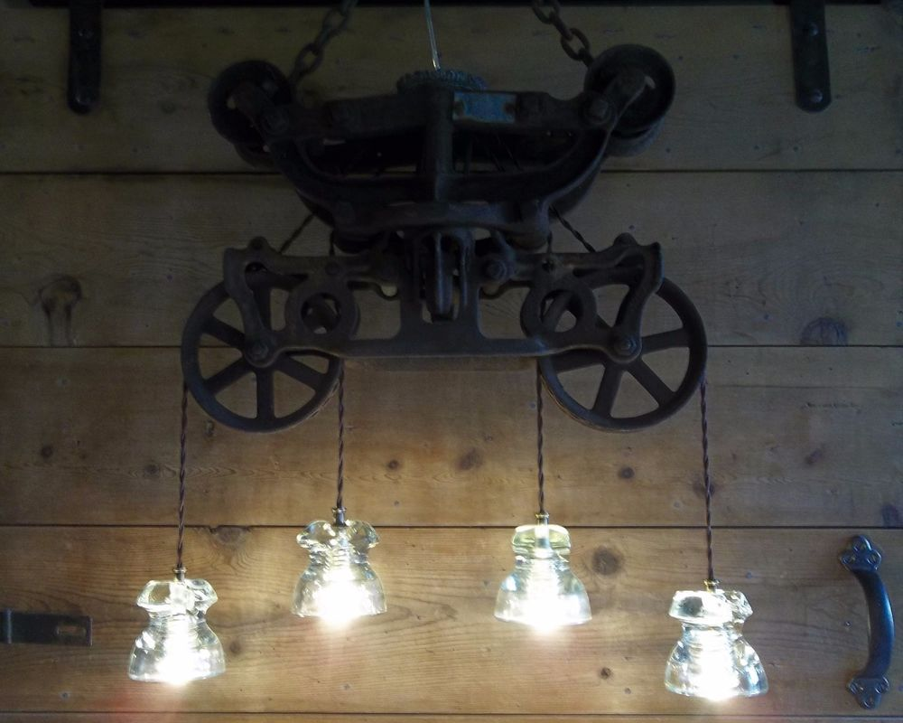 Glass insulator light fixture antique hay trolley barn pulley light glass insulator light fixture antique hay trolley barn pulley light chandelier arubaitofo Choice Image