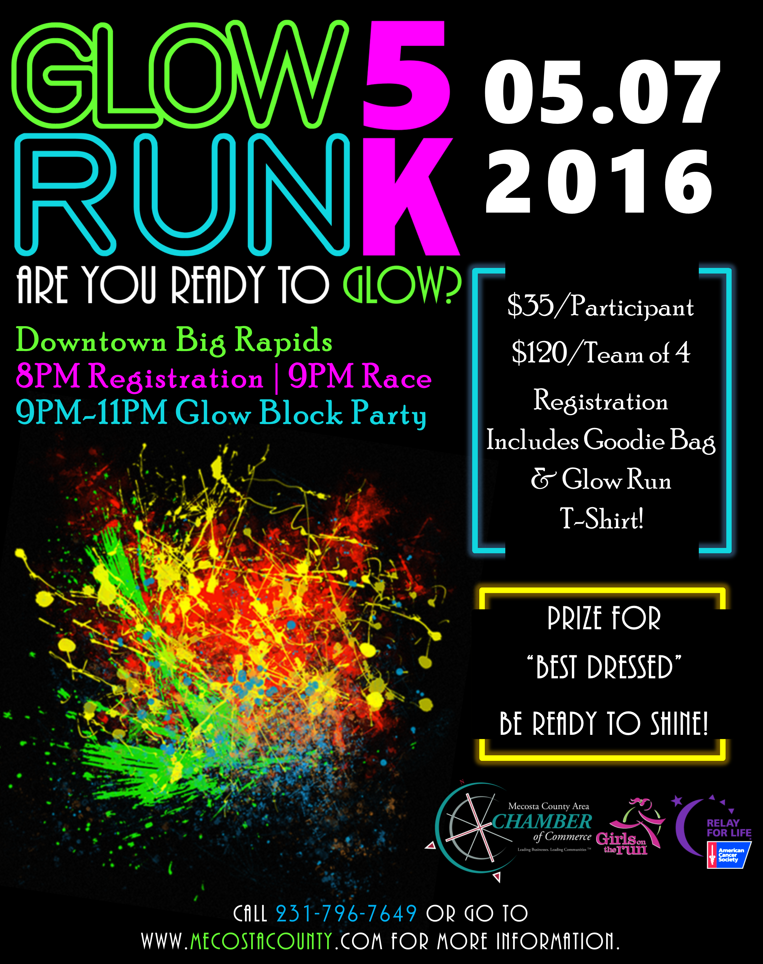 5k Glow Run Flyer Big Rapids Glow Run Pta Fundraising Walk Fundraiser
