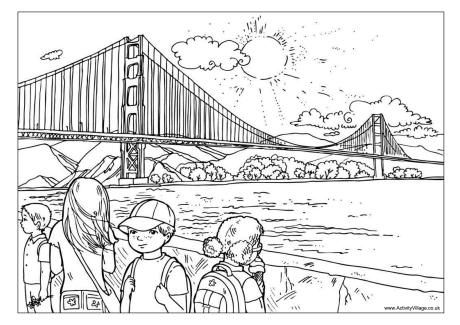 Golden Gate Bridge colouring page | Crafts for kids | Pinterest