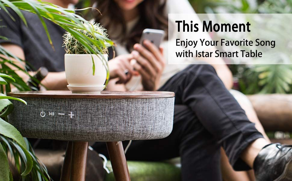 Smart Table With Bluetooth Speaker Wireless Charging Table 6 Speaker 360° Sound