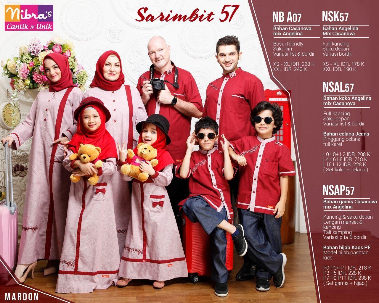 Baju Couple Keluarga Nibras57 Maroon Muslim, Lebaran