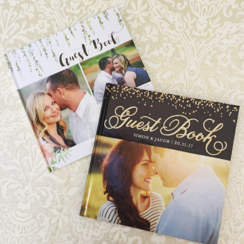 personalised wedding guest book with photos