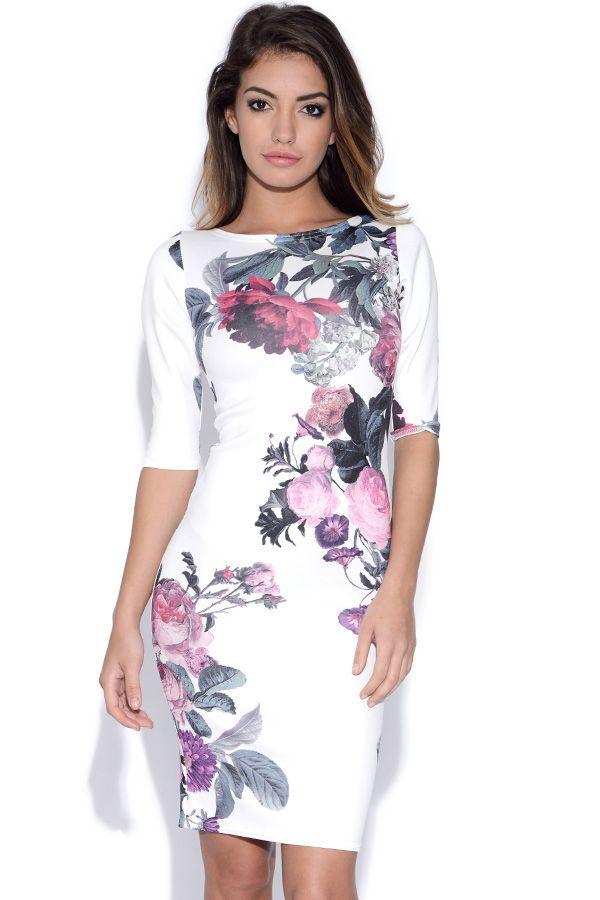 dfc50884243e Faye Floral Print Strappy Midi Bodycon Dress at boohoo.com | Bodycon ...