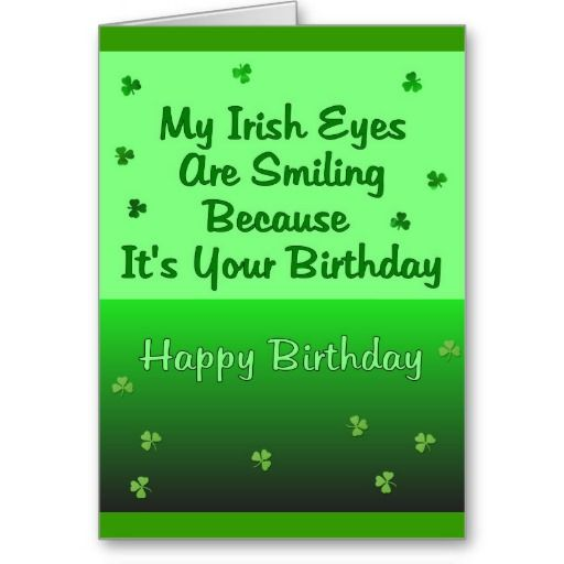 Irish Eyes Birthday Card St Patricks Cards Vintage