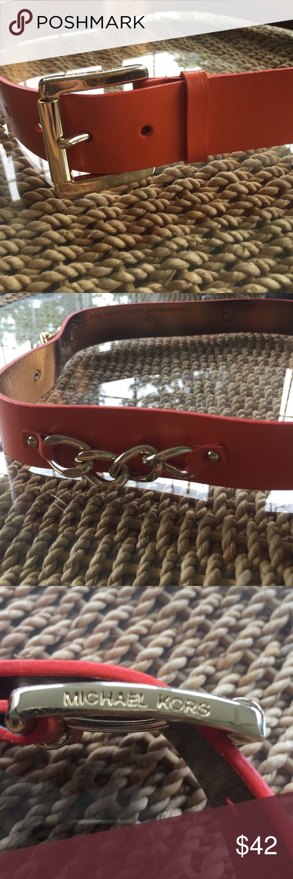 🍾SALE✨ Michael Kors Belt This belt is in impeccable condition. I have worn it once. The chain detail makes it beautify to belt a dress with or to wear with white skinnies for a pop of color! Sadly it doesn't fit me anymore. Michael Kors Accessories Belts