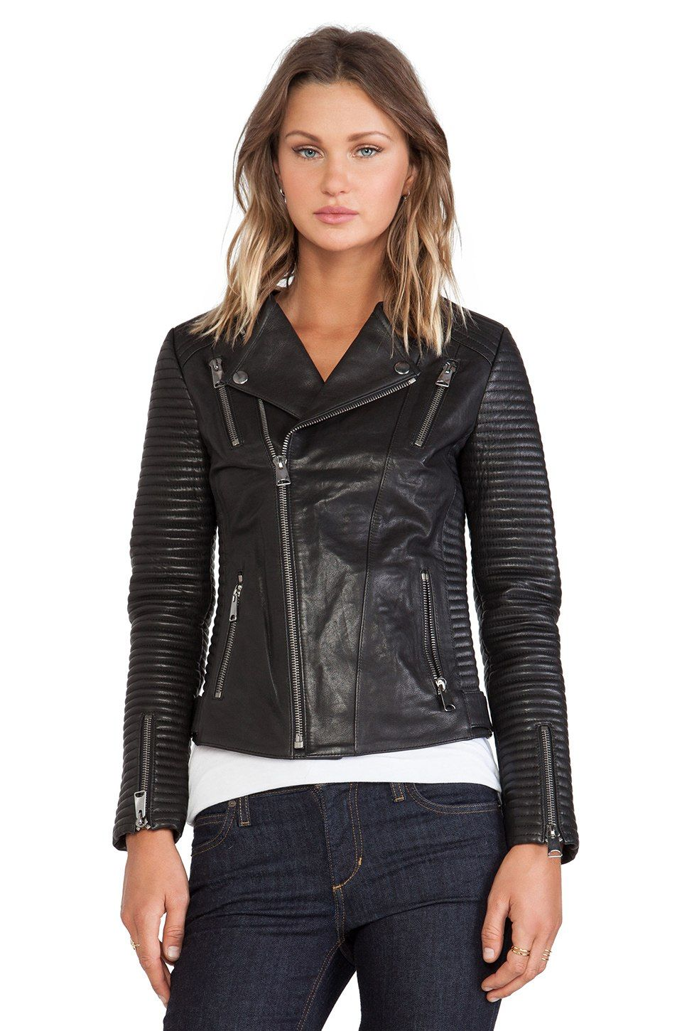 ANINE BING Classic Leather Jacket in Black REVOLVE