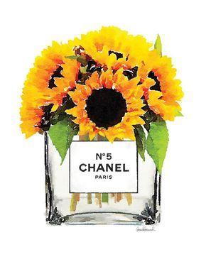 Sunflowers In Vase Watercolor Art Print Wall Fashion Illustration Flowers Yellow Bright Watercolour Perfumegift