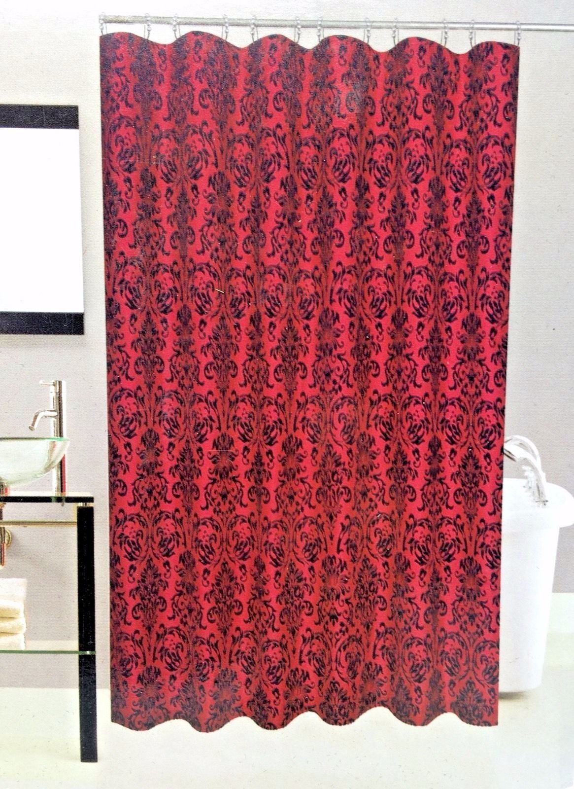 Fabric Shower Curtain Flocked Wine Red Black 70x72 Inch Interiors