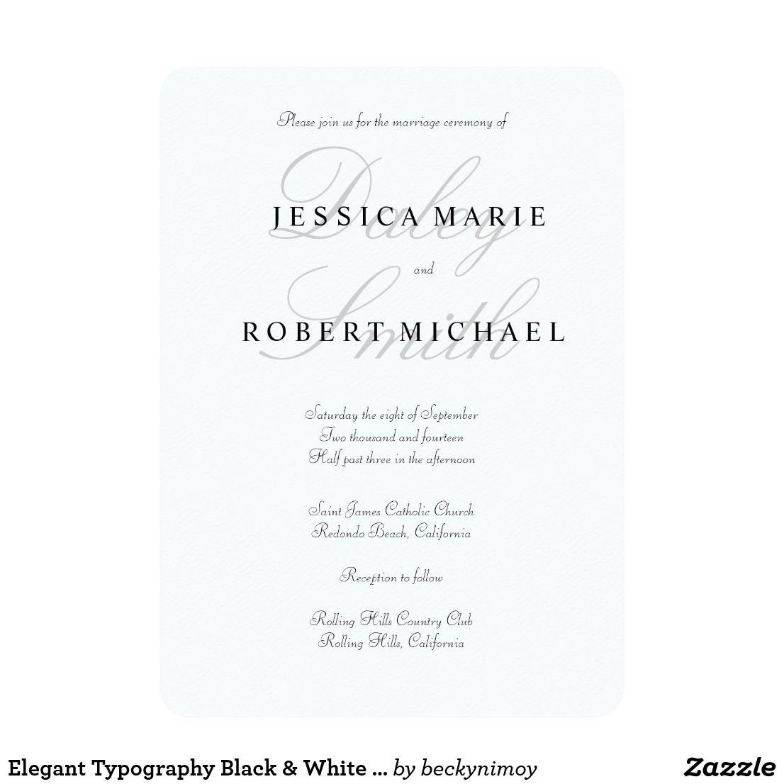 Elegant Type Black & White Wedding Invitation   Elegant Wedding ...