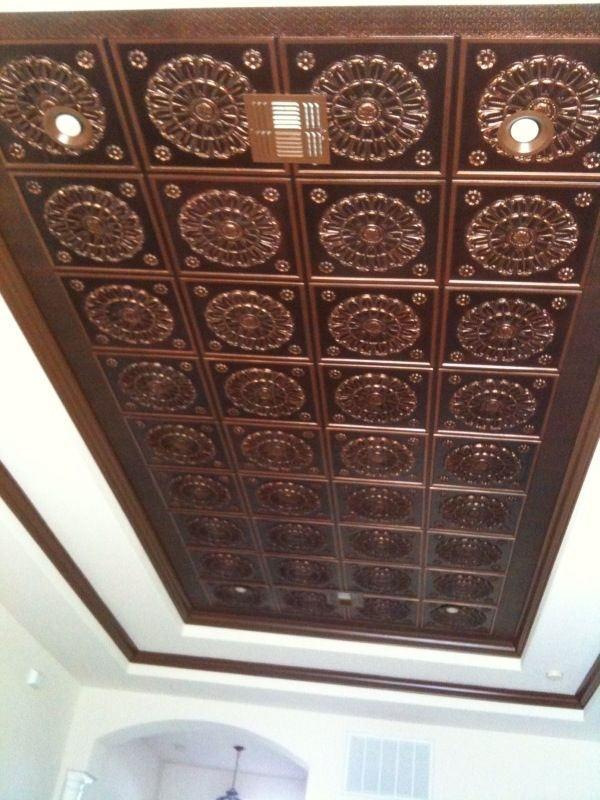 faux copper tin ceiling glueon around 100024x24 tile with white - Tin Ceilings