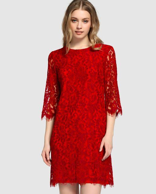 a5a02d23142f4 Vestido de mujer Fiesta El Corte Inglés de encaje en color rojo ...